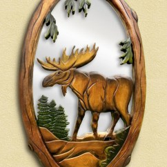 Kitchen Clocks Wine Theme Tile Floors Moose Hand-carved Wooden Mirror