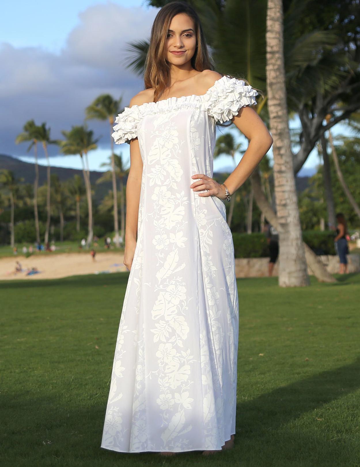 Hawaiian Leis White Wedding Ruffled Dress  Hawaiian Wedding Place