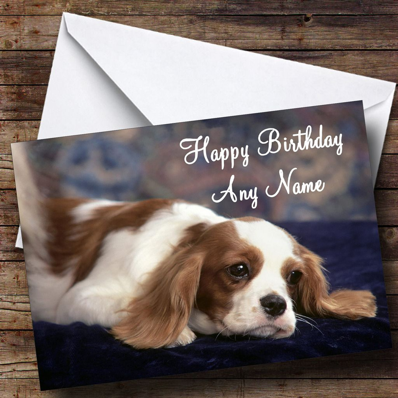 King Charles Spaniel Dog Personalised Birthday Card The
