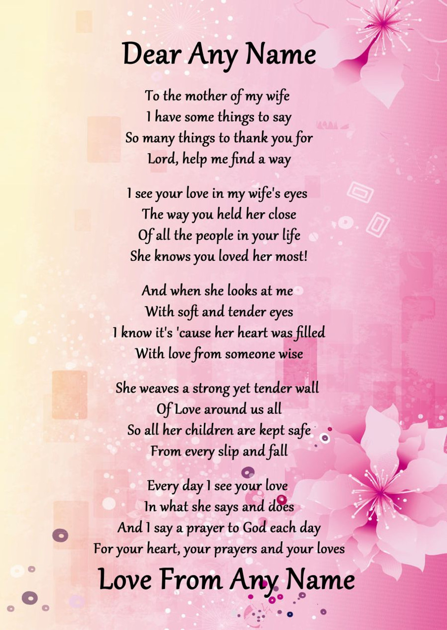 Pink & Yellow My Wife's Mother Personalised Poem