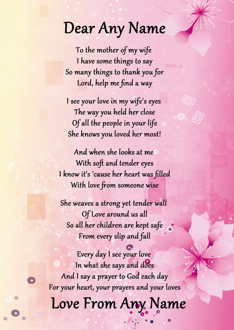 Green My Wife's Mother Personalised Poem Certificate The