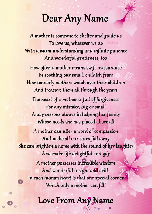 Pink & Yellow What Is A Mother Personalised Poem
