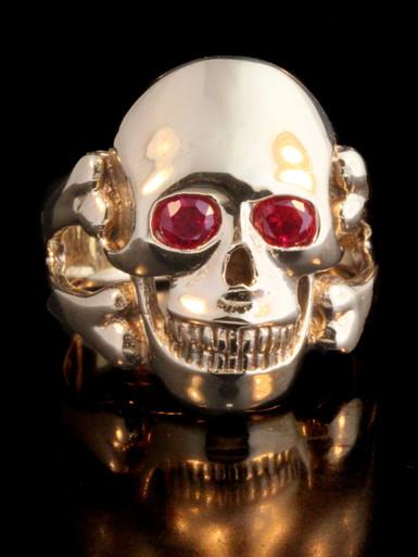 Skull And Crossbone Ring 14k Gold Large Gemstone Eyes