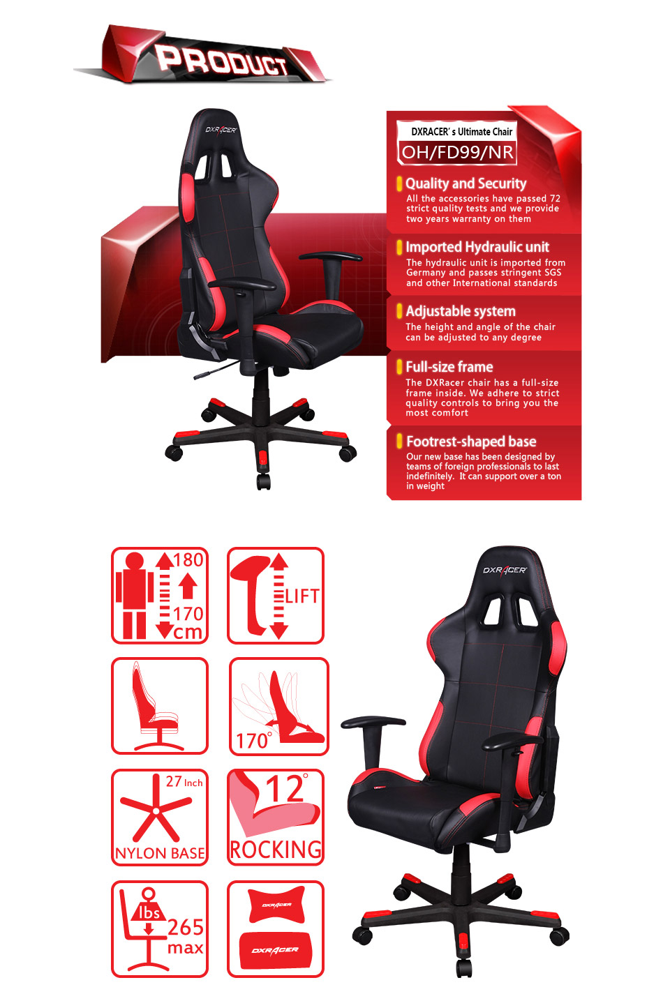 Dxr Chair Dxracer F Series Gaming Chair Sparco Style Black Red Oh Fd99 Nr