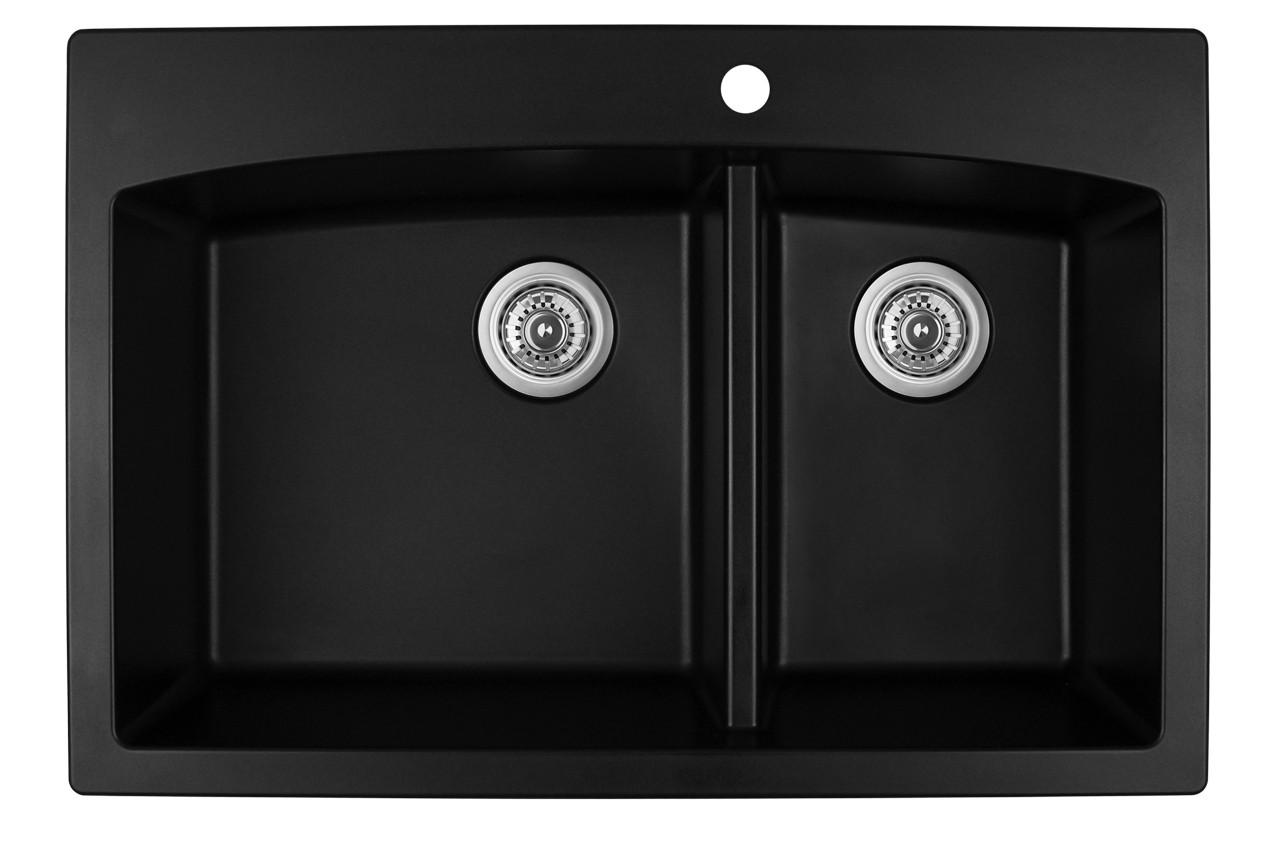 33 x 22 kitchen sink top karran double bowl mount black finish qt 711 york taps