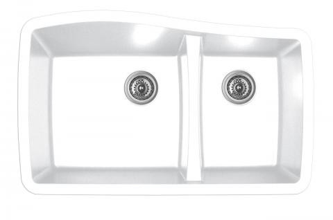 kitchen sink white drop in karren double bowl undermount finish 33 1 2 x 20