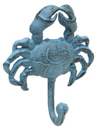 Blue Crab Single Wall Hook Painted Cast Iron 6 Inches ...
