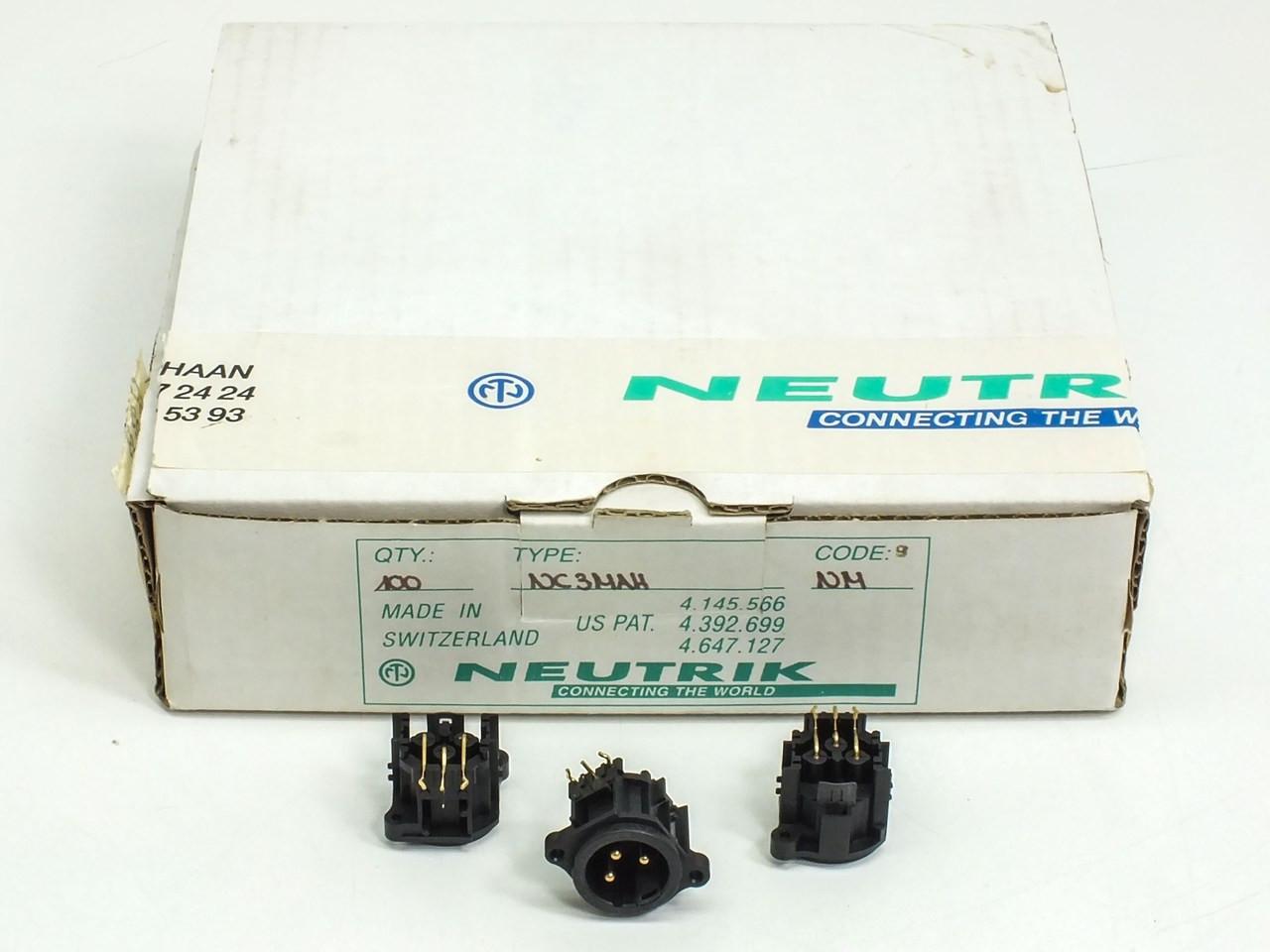 medium resolution of neutrik nc3mah 3 pole male xlr receptacle plastic housing box of 100
