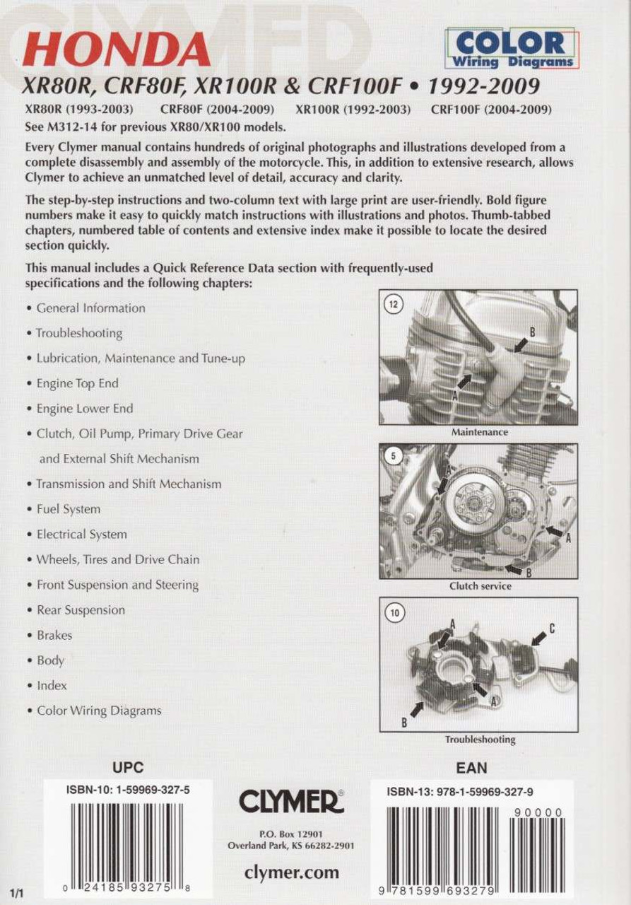 medium resolution of honda xr80r crf80f xr100r crf100f 1992 2009 workshop manual honda xr80r