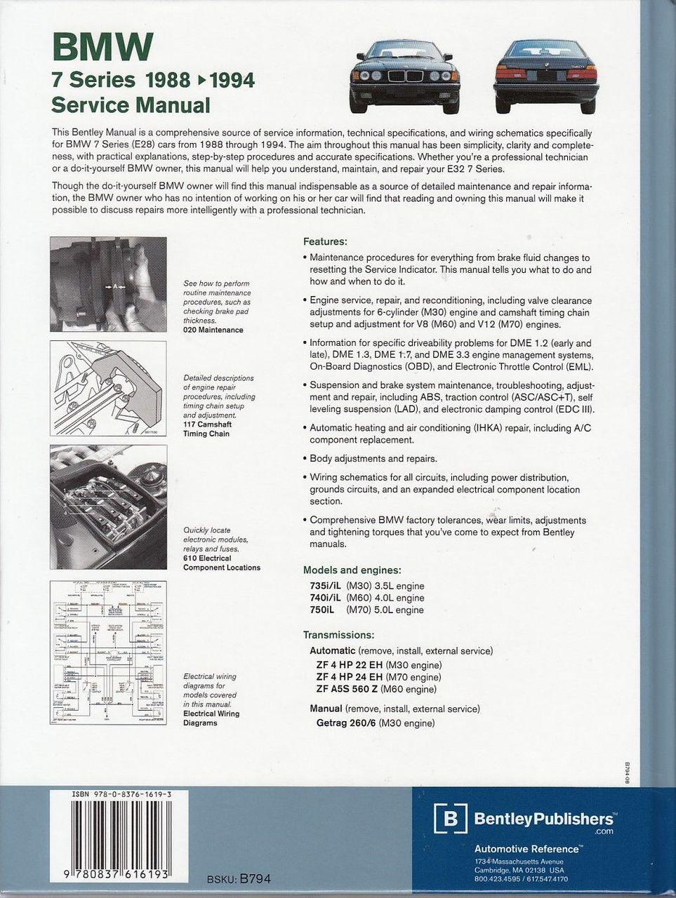 medium resolution of  bmw 7 series e32 735i 735il 740i 740il 750il 1988 1994