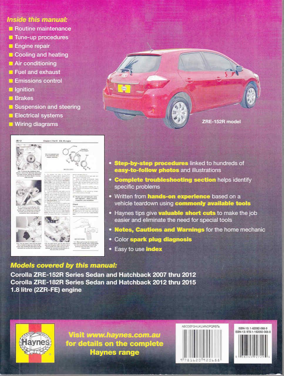 medium resolution of  toyota corolla 1 8 litre engine zre 152r zre 182r 2007 2015 workshop