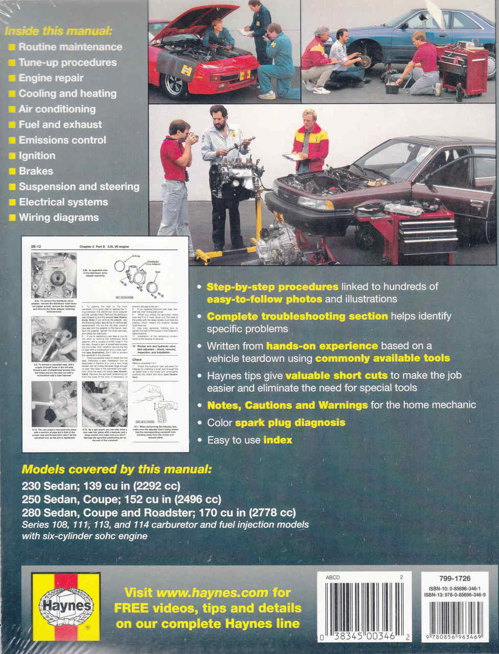 medium resolution of  mercedes benz 230 250 and 280 1968 1972 workshop manual 9780856963469