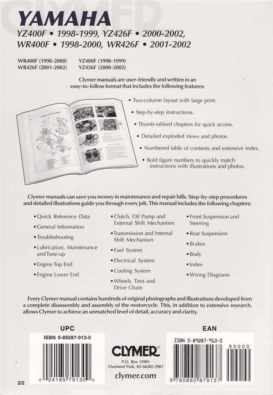 medium resolution of  02 yamaha wr426 service manual on xt350 wiring diagram xvz1300 wiring diagram rt100 wiring