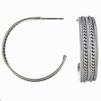 Navajo Silver Hoop Earrings 14471