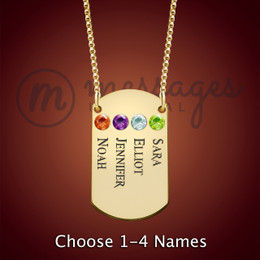 Gold Four Name With Birthstone Dog Tag