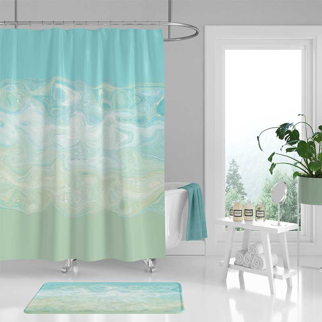 Shower Curtain and Bath Mat Blue and Mint Green Abstract