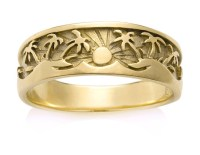 Tropical Palm Tree Sun Ring Gold Platinum in Tropical ...