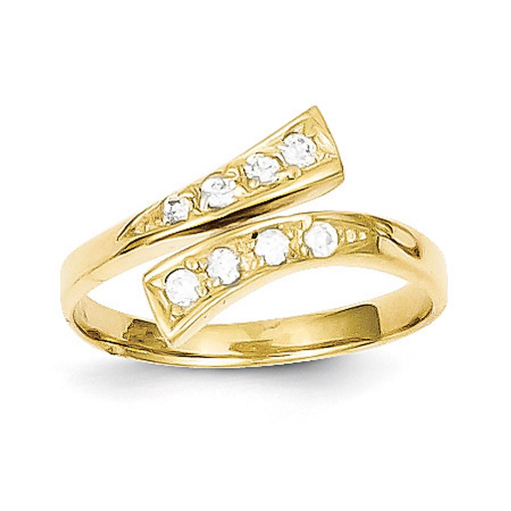 Toe Ring 10k Gold Synthetic Diamond - Homebello