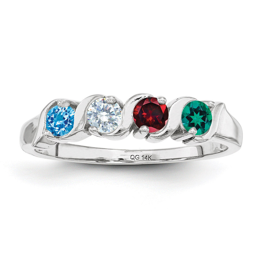 4 Birthstones Mothers Ring 14k White Gold Polished Xmr11 4w - Homebello