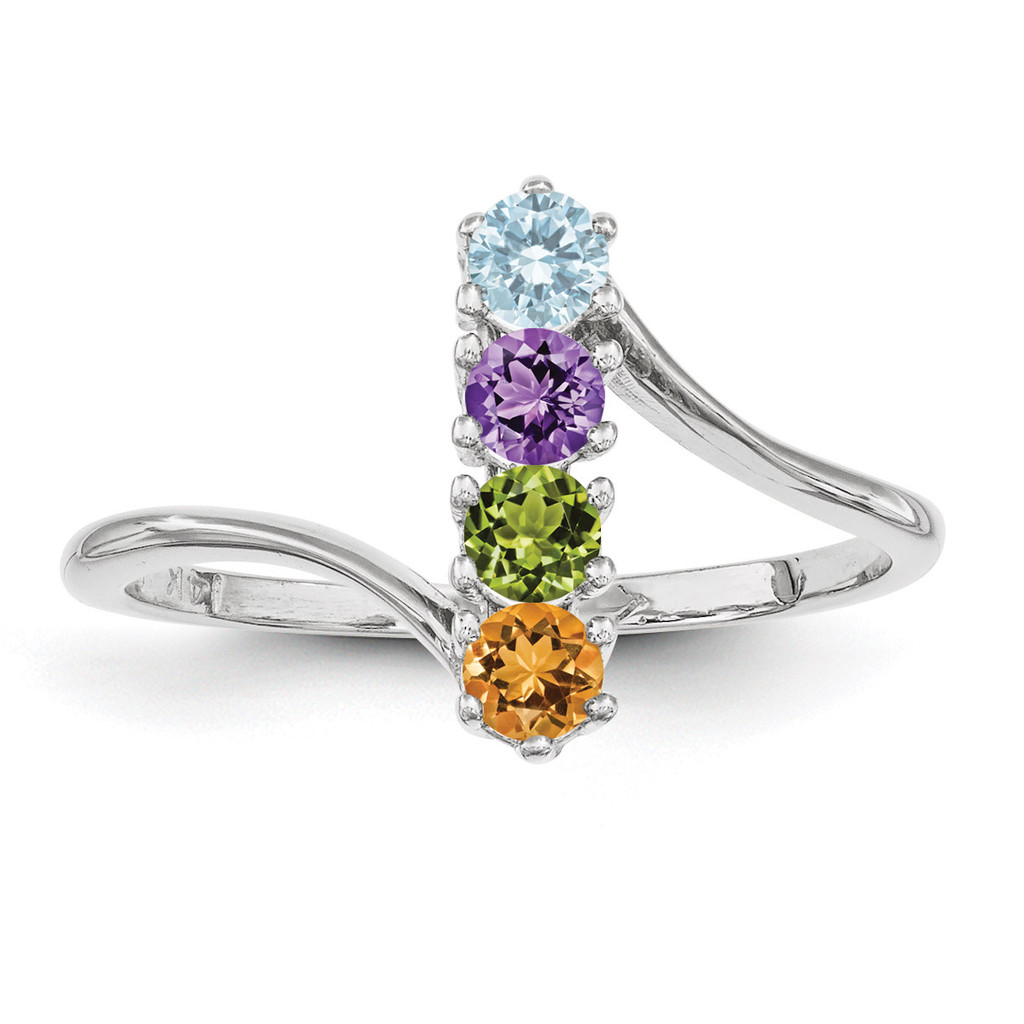 4 Birthstones Mothers Ring 14k White Gold Polished Xmr15 4w - Homebello