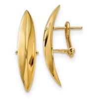 Fancy Omega Back Earrings 14k Gold Polished LE1595 by ...