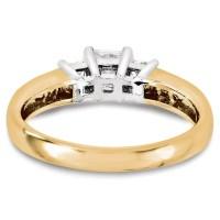 Wedding Set Mounting Ring Band 3 Stone Sets 10k Two-tone ...