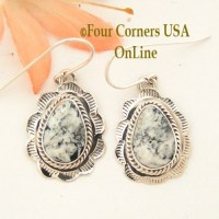 White Buffalo Turquoise Earrings - Four Corners USA OnLine
