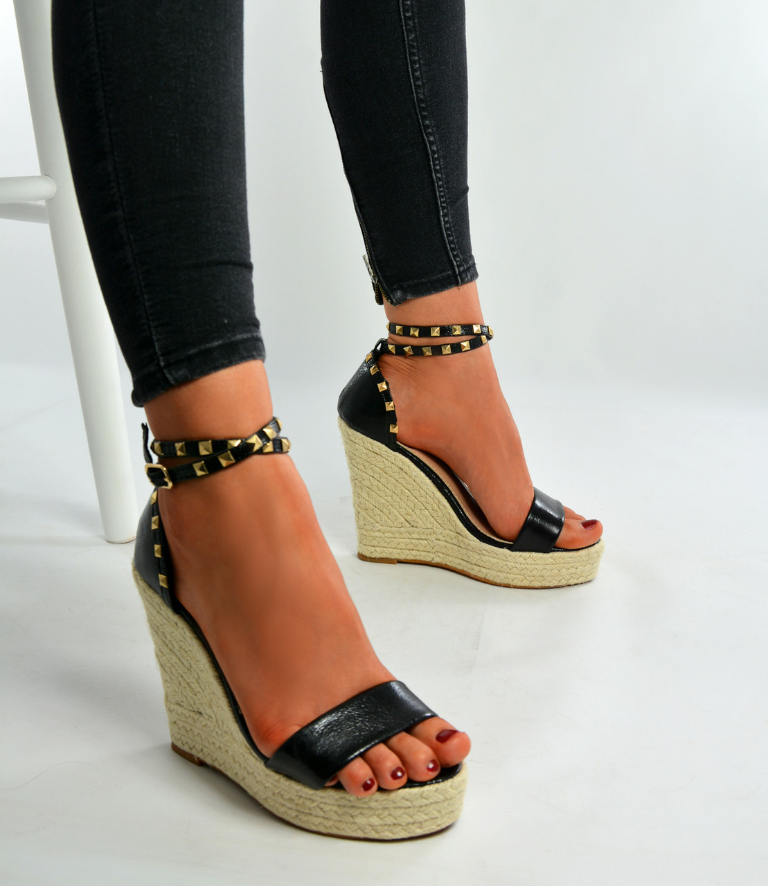 New Womens High Wedge Heels Ladies Espadrille Studded