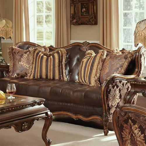 aubergine leather sofa sleeper navy blue caravelle warm walnut - magnolia hall