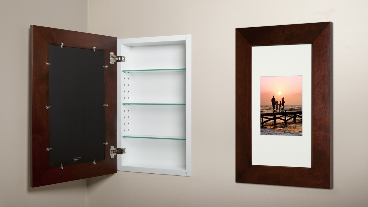 Extra Large Espresso Concealed Cabinet  Recessed InWall