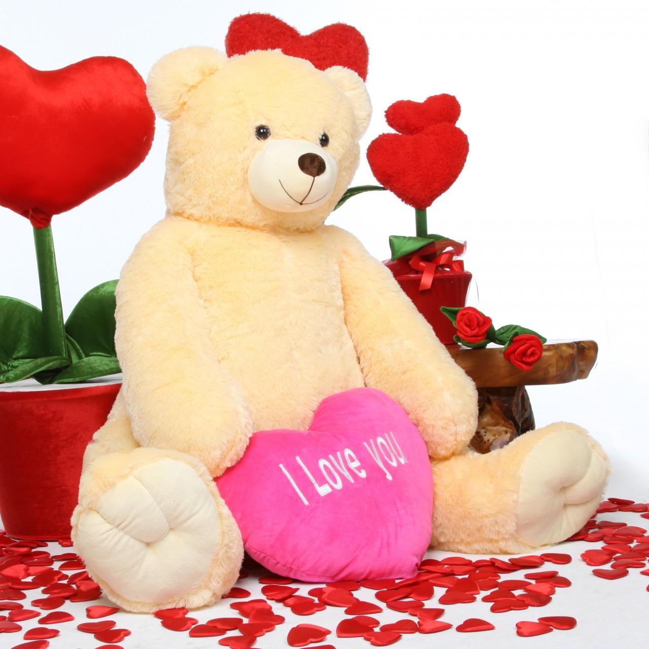 Jumbo Tiny Heart Tubs I LOVE YOU Hot Pink Heart Cream