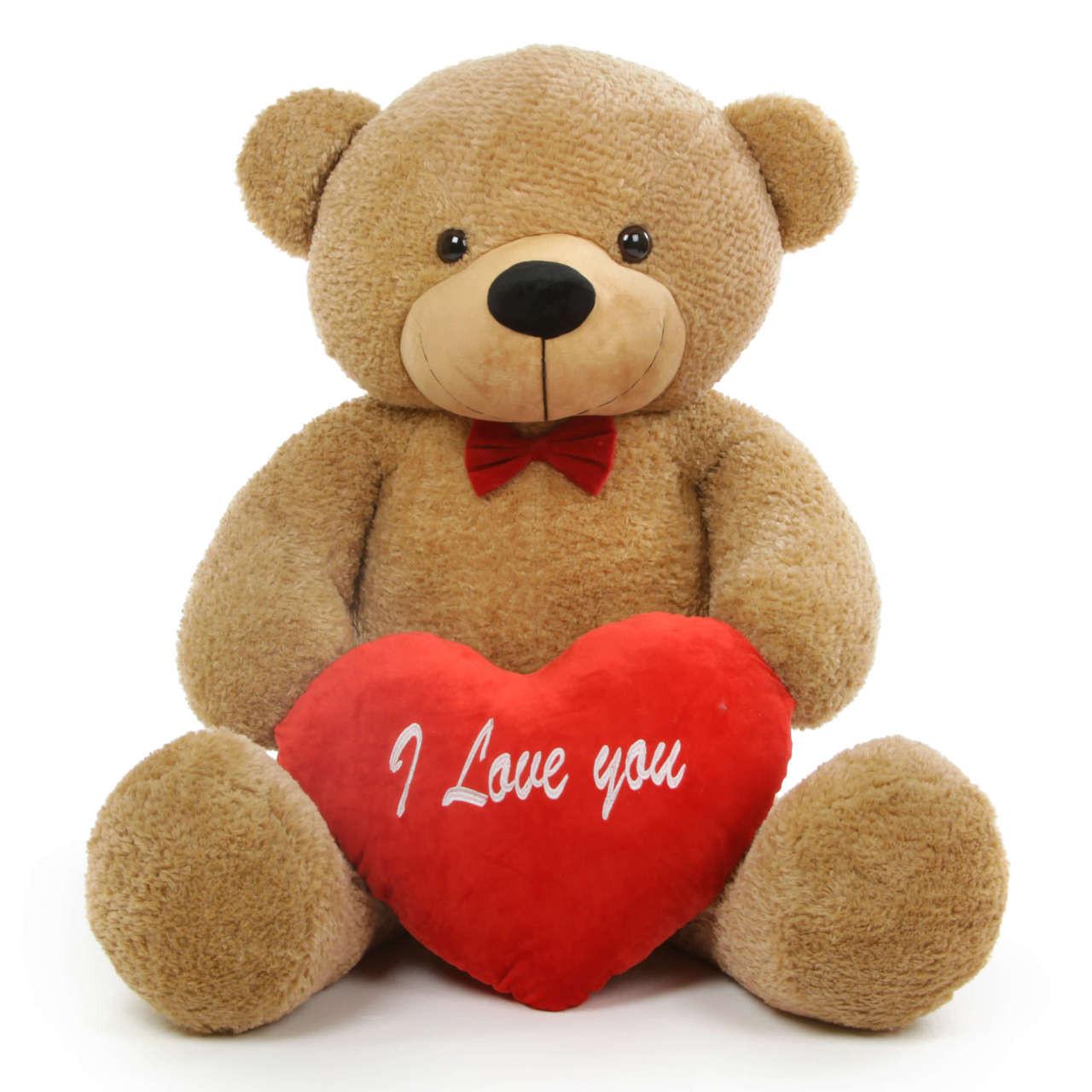 Shaggy L Cuddles 48 Amber Teddy Bear W I Love You Heart