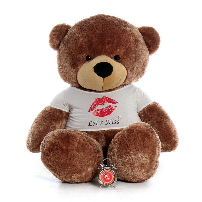 6 Foot Life Size Valentines Day Teddy Bear In Lets Kiss