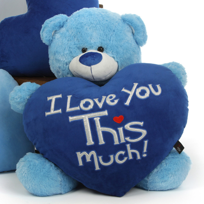 Big 3ft Light Blue Teddy Bear Marty Shags With I Love You