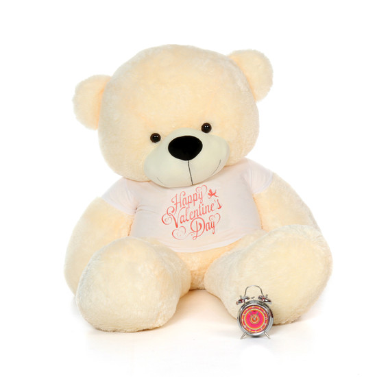 6ft Life Size Teddy Bear Wearing Happy Valentines Day