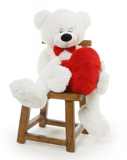 Giant White Teddy Bear Holding A Heart Is A Unique