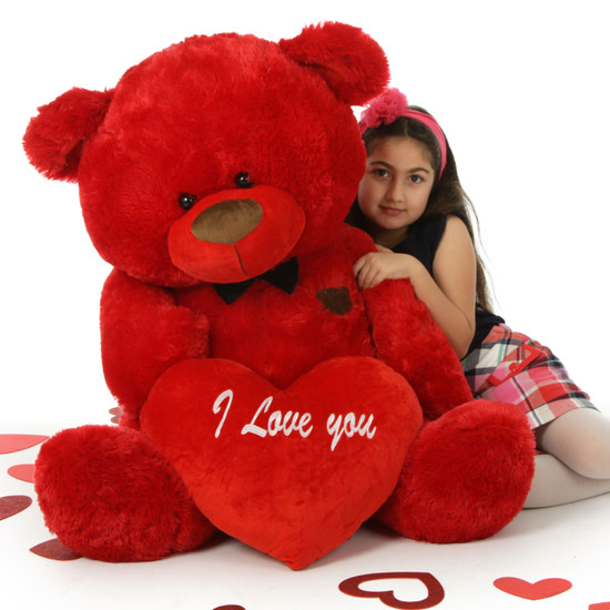 Big Red Valentines Teddy Bear With Bow Tie And Plush I