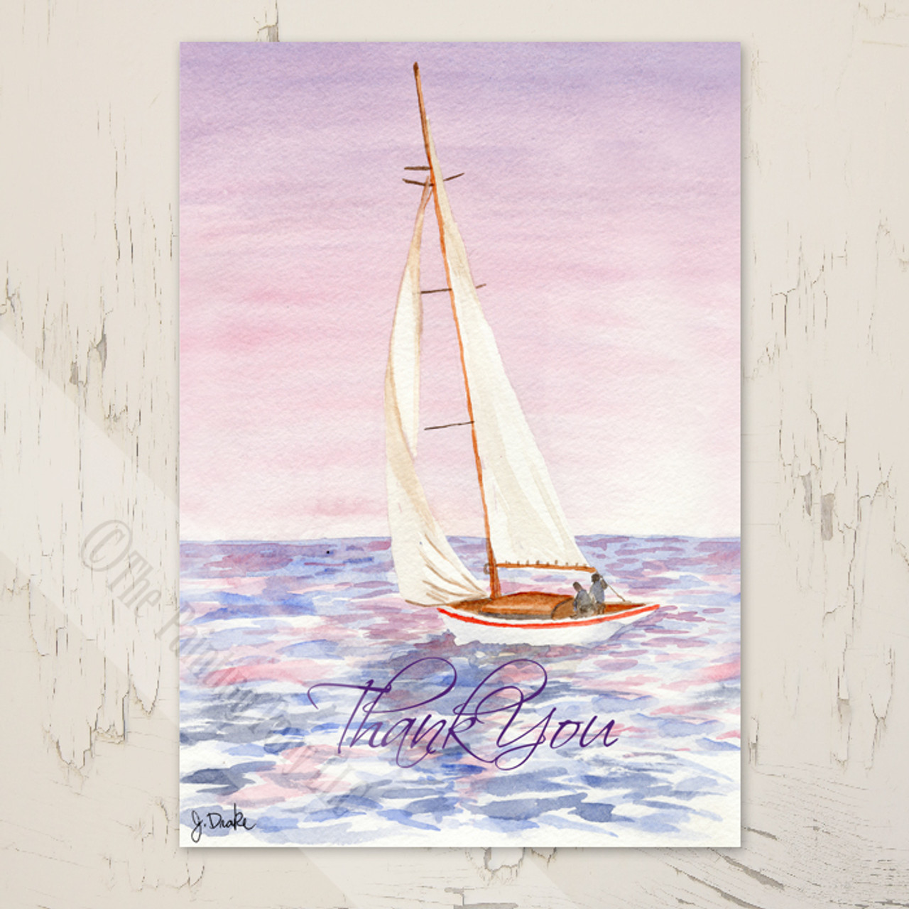 Sail Boat Nautical Wedding Thank You Note (10 pk) - The Painting Pony