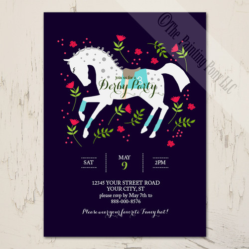 Whimsical Race Horse Derby Party Equestrian Invitation 10