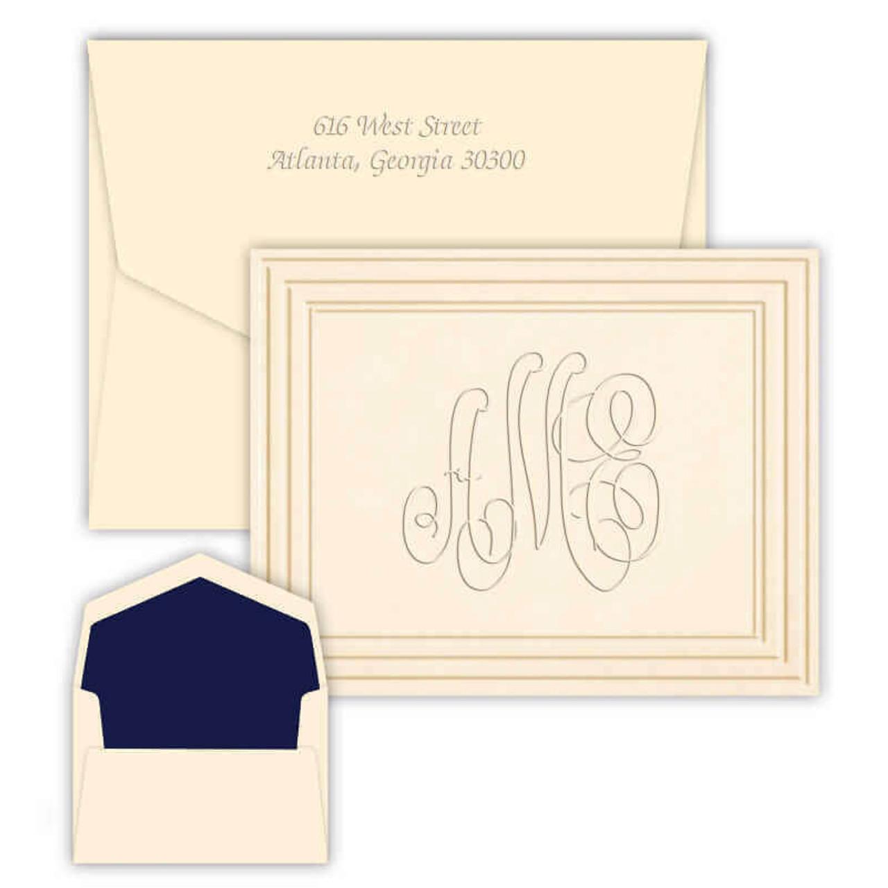 embossed monogram note cards