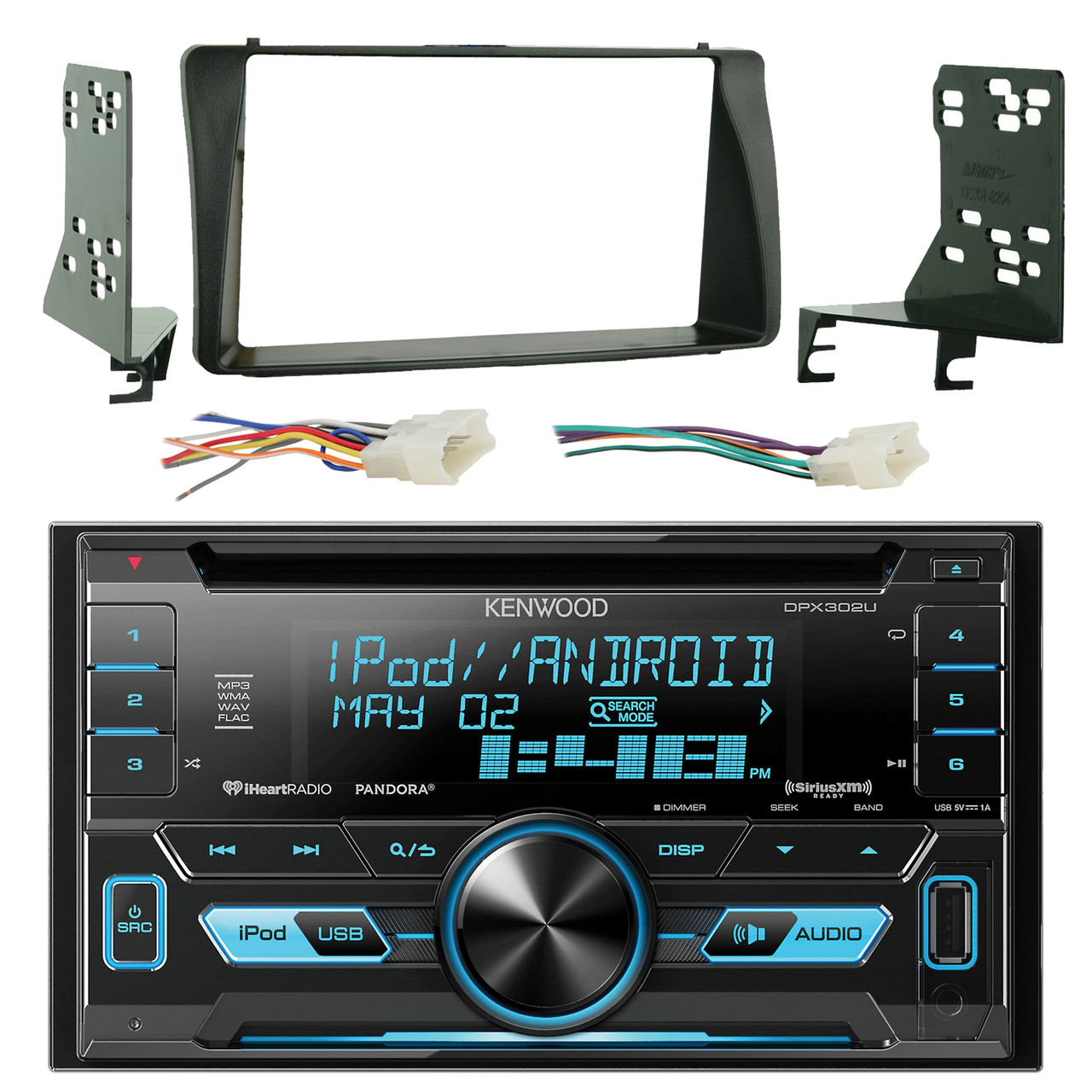kenwood dpx302u double 2 din cd receiver with front usb aux inputs sirius xm [ 1280 x 1280 Pixel ]