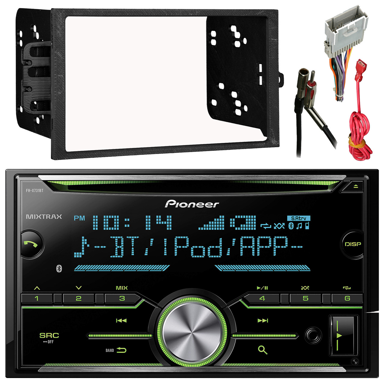 pioneer fh x731bt 2 din am fm cd ipod receiver  [ 1280 x 1280 Pixel ]