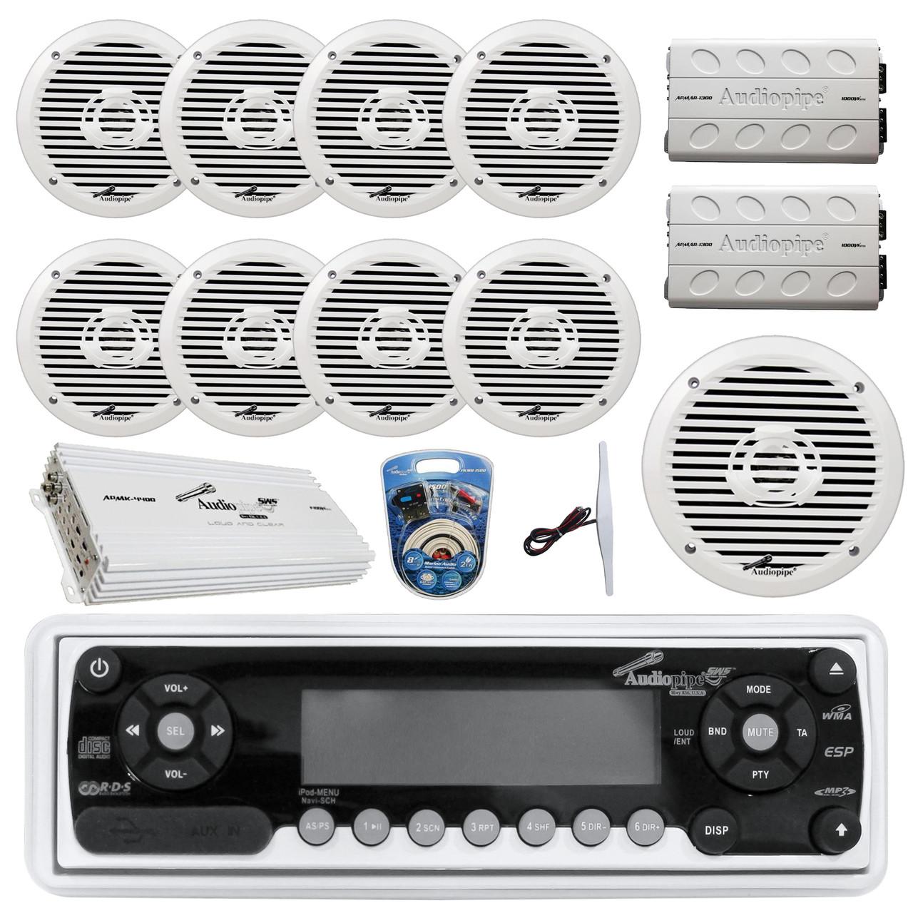 36 42 boat audiopipe marine am fm cd receiver 8x 8 white boat speakers 2x 4 channel amp 1400w 10 subwoofer 2x mini 1000w amp 8 gauge marine  [ 1280 x 1280 Pixel ]