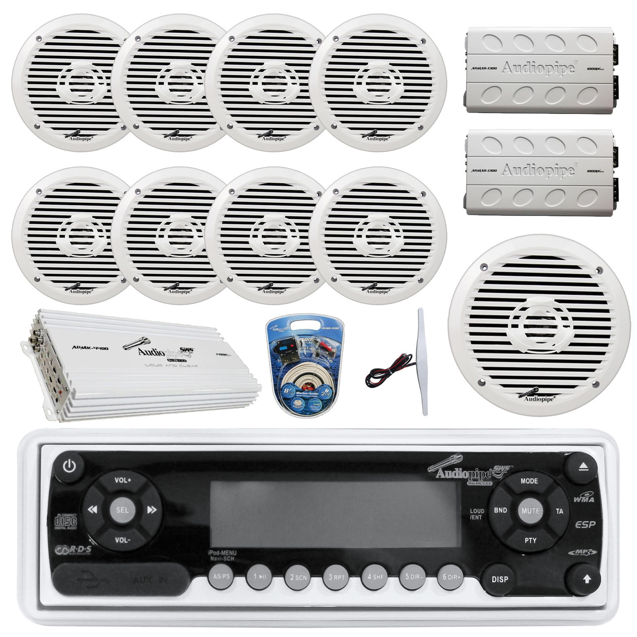 small resolution of 36 42 boat audiopipe marine am fm cd receiver 8x 8 white boat speakers 2x 4 channel amp 1400w 10 subwoofer 2x mini 1000w amp 8 gauge marine