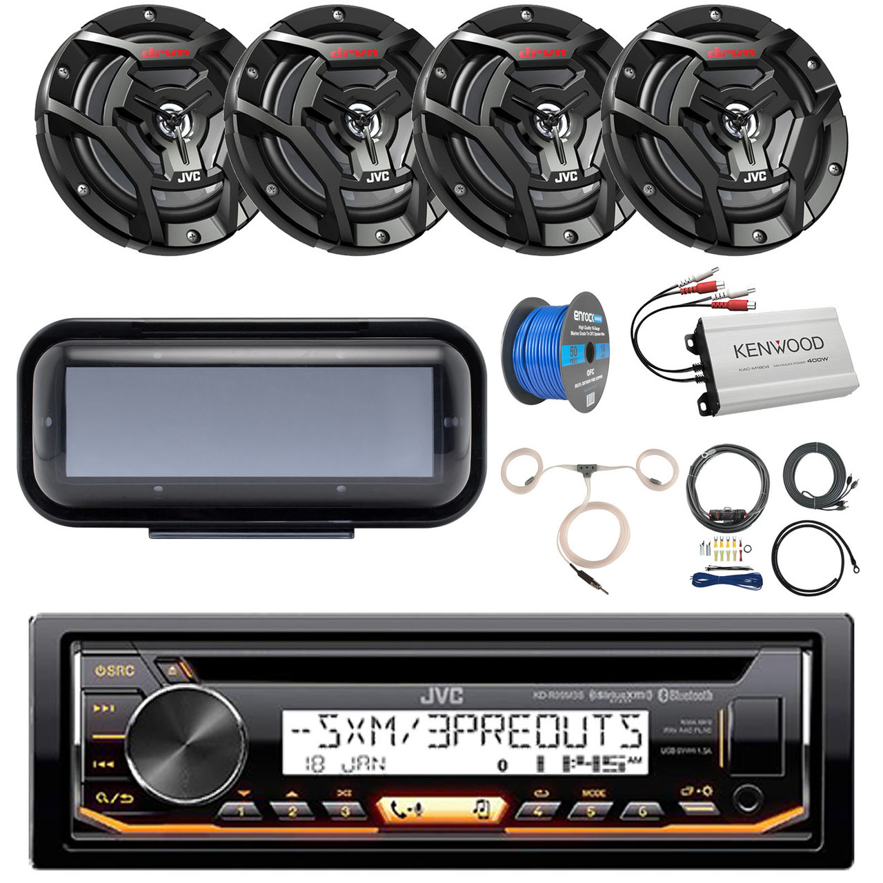 pontoon boat audio package jvc kd r99mbs marine bluetooth cd receiver radio cover [ 1280 x 1280 Pixel ]