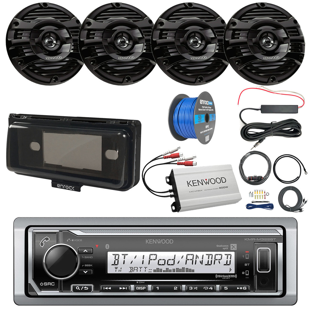 medium resolution of pontoon boat audio package kenwood kmr m322bt marine bluetooth receiver radio cover