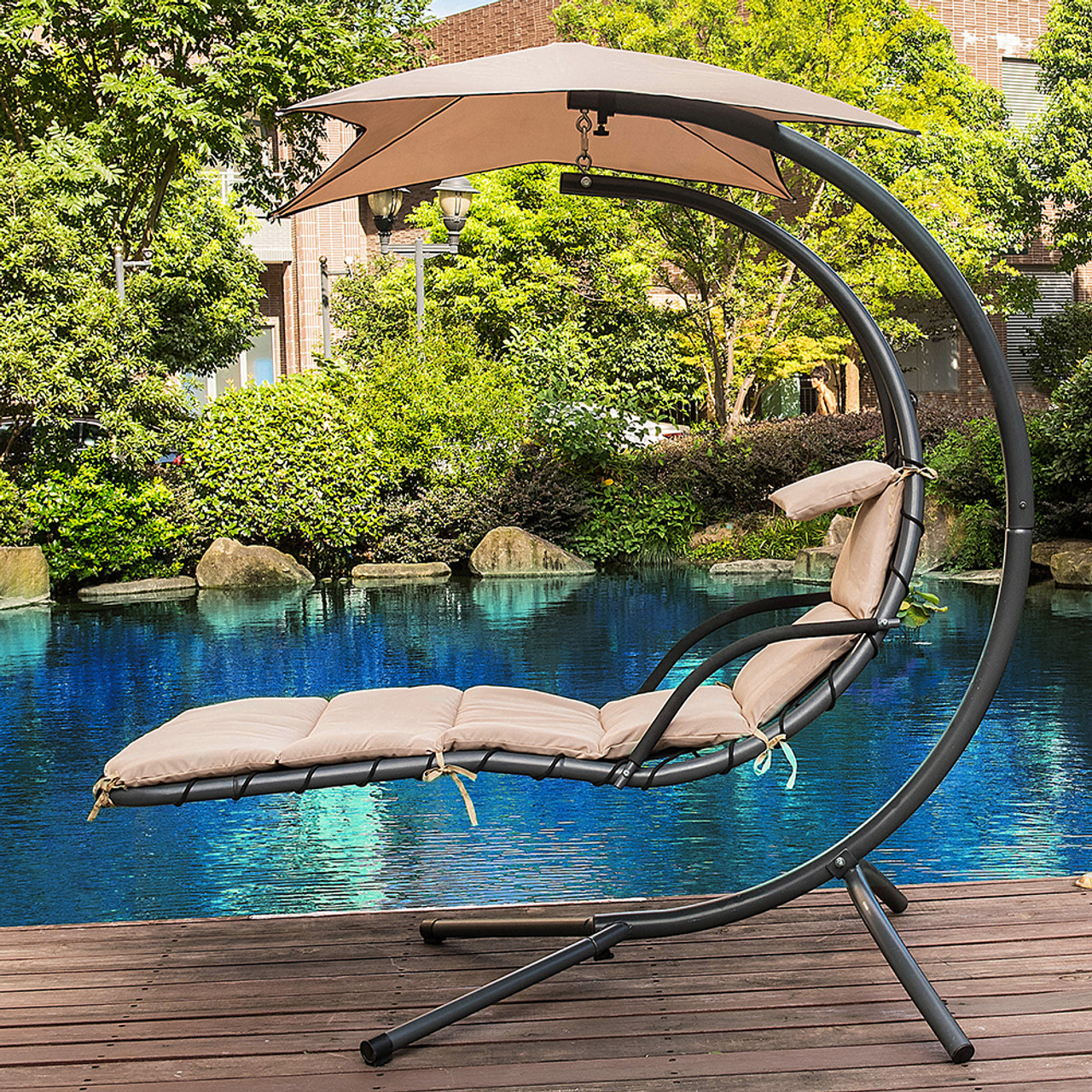 outdoor dream chair brown accent chairs living room lazy daze hammocks with umbrella hanging chaise lounge arc curved hammock taupe