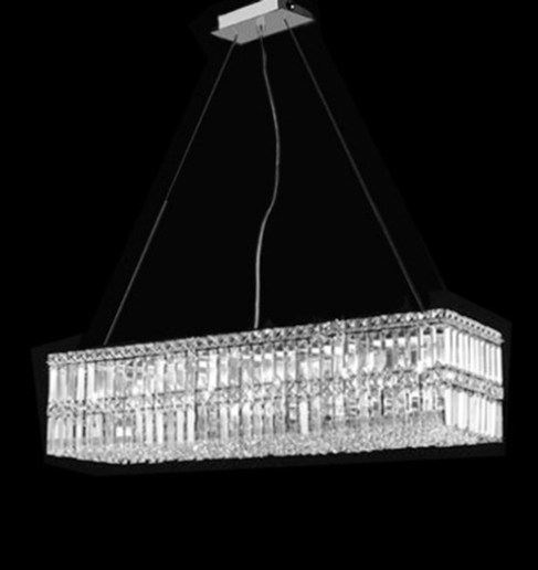 Linear Crystal Chandelier Dining Room