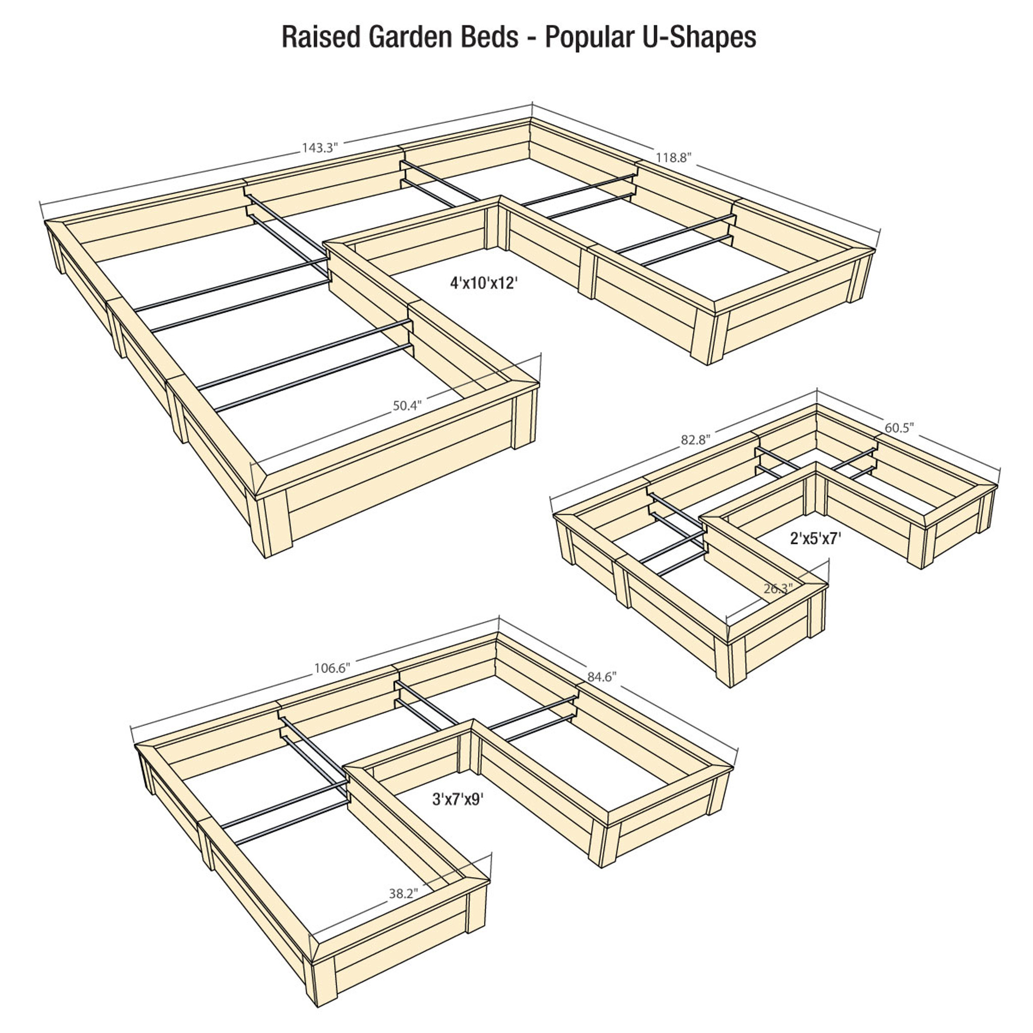 medium resolution of u shaped raised garden bed with trim pack