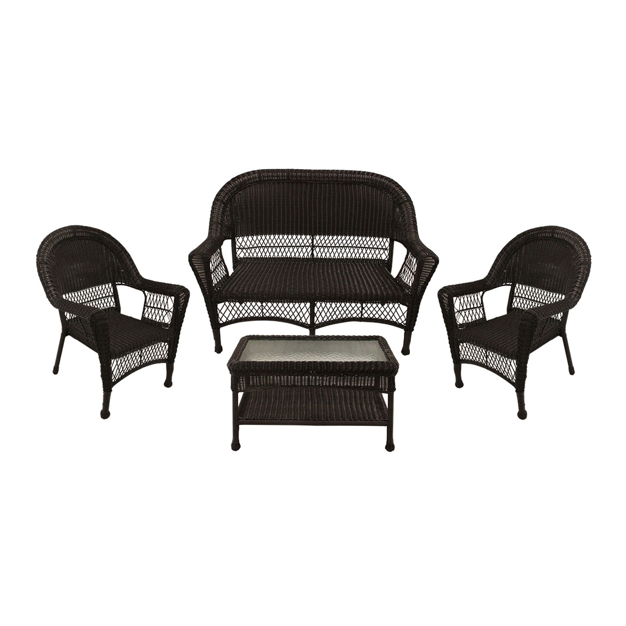 4-piece Brown Resin Wicker Patio Furniture Set - 2 Chairs